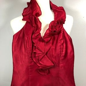 White House Black Market Red Corset Halter Top 00